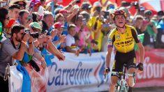 Kuss llegando a la meta en la etapa 15 de la Vuelta a España.