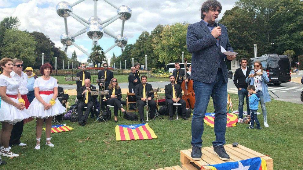 Carles Puigdemont en un acto de la ANC celebrado en Bruselas.