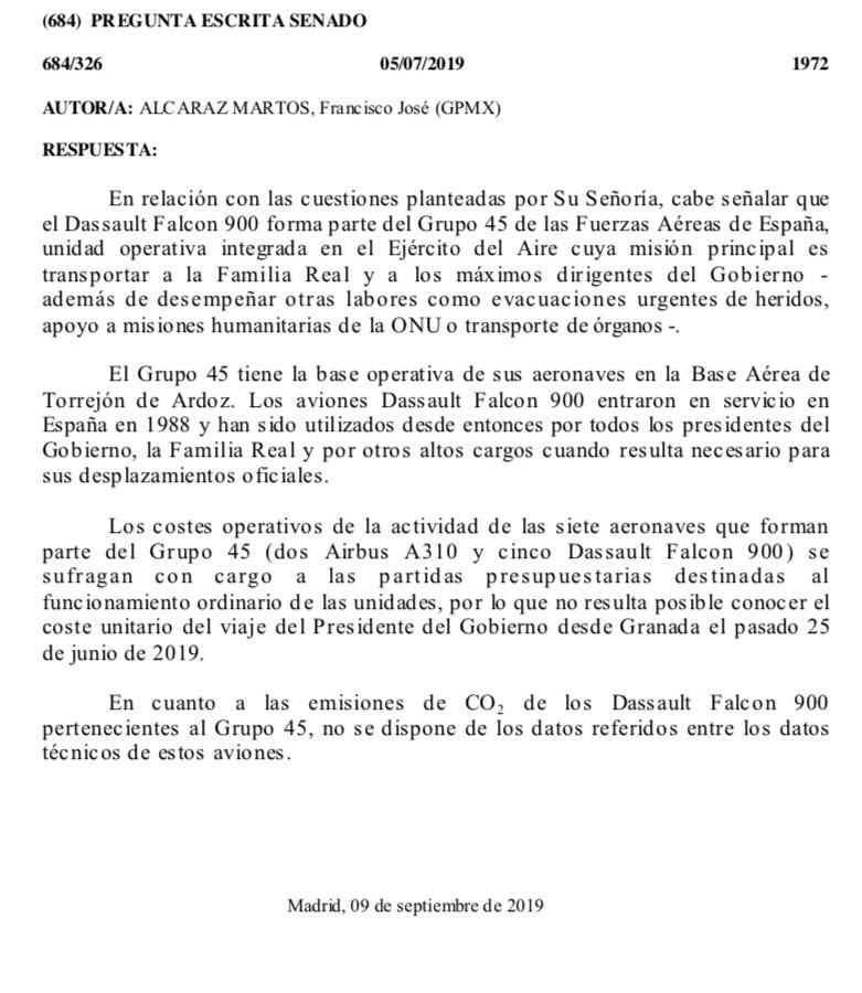 El Gobierno afirma que no tiene ni idea del coste de los viajes en Falcon de Sánchez ni de lo que contamina
