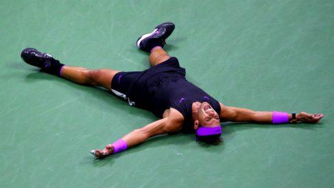 Nadal celebra su victoria ante Medvedev en la final. (Getty)