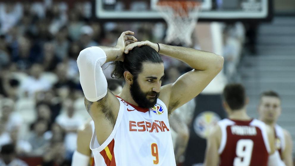 Ricky Rubio, durante el España-Polonia del Mundial. (AFP)