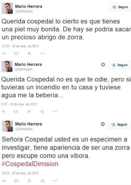Tuits en los que un alto cargo del gobierno socialista de La Rioja insulta a Cospedal