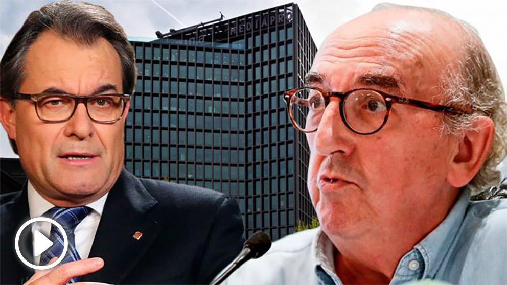 El ex presidente Artur Mas y el millonario Jaume Roures, ante una imagen de la sede de Mediapro/Imagina.