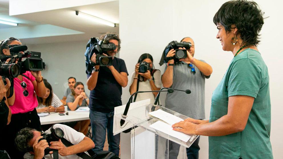La coordinadora general de Podemos Andalucía y presidenta del grupo parlamentario de Adelante Andalucía, Teresa Rodríguez. Foto: EP