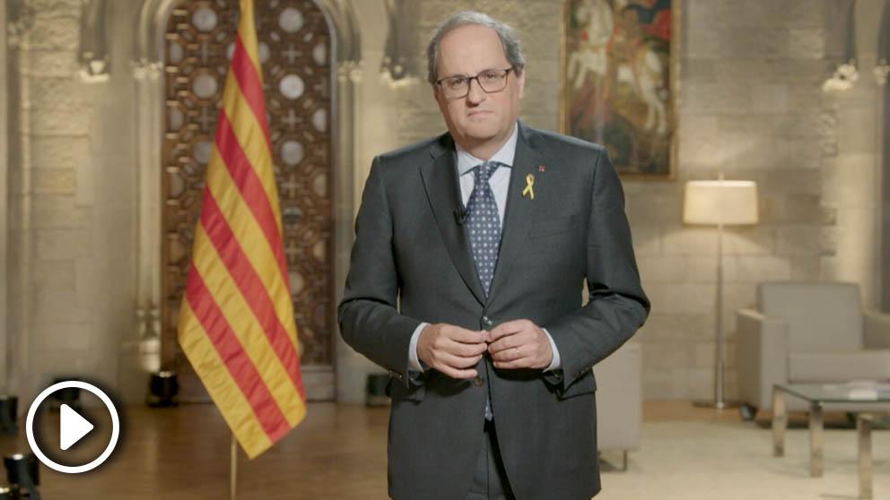 Quim Torra, presidente de la Generalitat en su mensaje en TV3