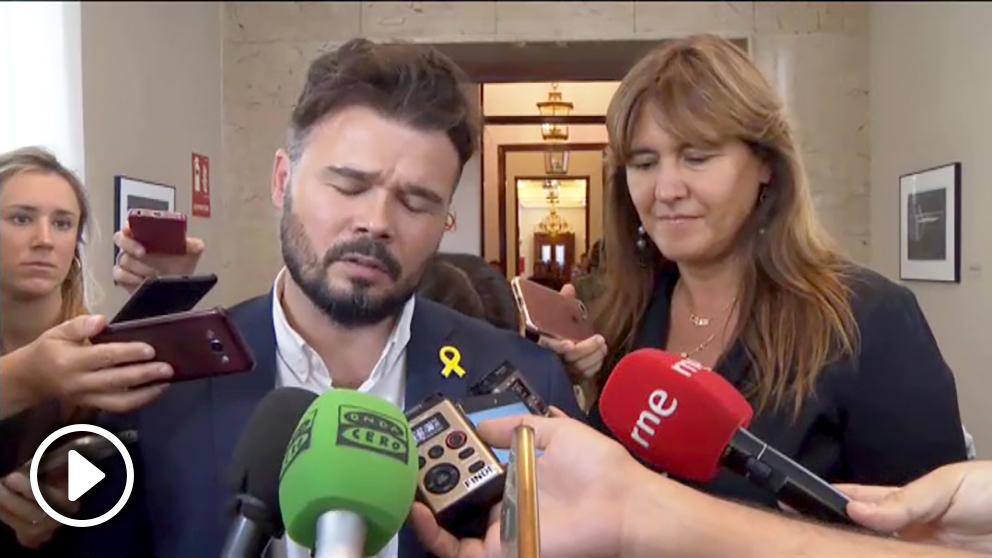 Gabriel Rufián y Laura Borrás.