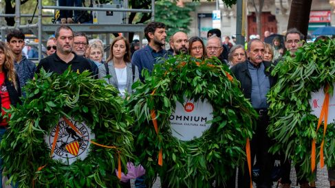 El vicepresidente de Òmnium Cultural, Marcel Mauri. acompañado de otras entidades independentistas durante un acto de la DIada. Foto: EP