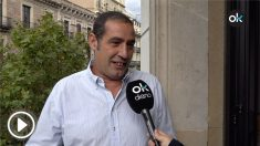 Juan es uno de los dos activistas que ha puesto el himno de España a todo volumen en la ofrenda floral de la Diada