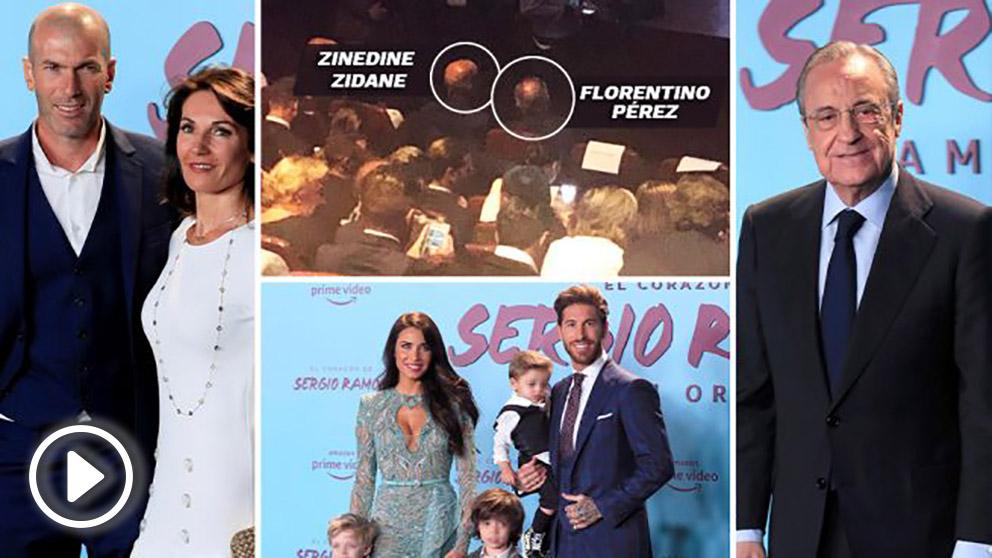 Zidane y Florentino acudieron al estreno del documental de Ramos. (EFE)