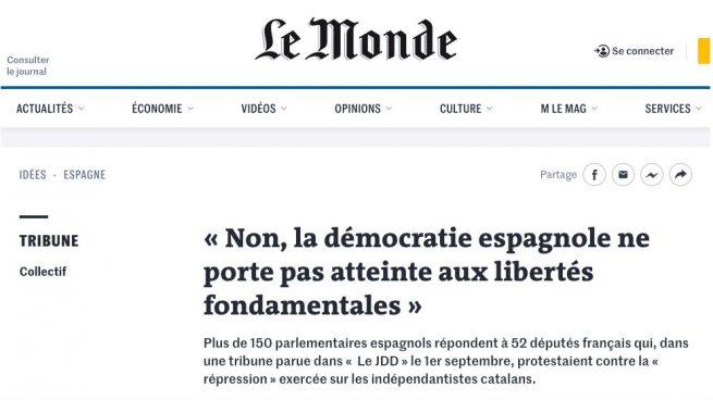 El PP responde en 'Le Monde' a los diputados franceses que acusan a España de reprimir a los electos catalanes