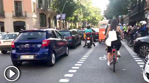 Atascos en Barcelona durante la Diada 2019.