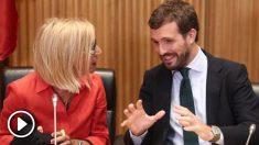 Rosa Díez y Pablo Casado durante el acto organizado por el PP en el Congreso de los Diputados. Foto: EP