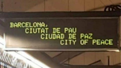 Carteles luminosos de «Barcelona Ciudad de Paz».