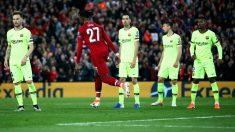 Divock Origi celebra el gol del Liverpool que eliminó al Barcelona de la Champions League. (Getty)