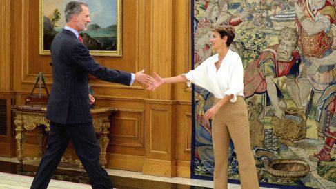 Felipe VI recibe en audiencia a la presidenta de Navarra, María Chivite. Foto: EFE