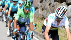 Valverde y Quintana, en un momento de la Vuelta a España. (EFE)