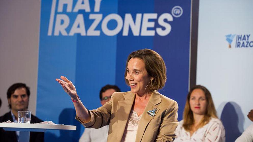 La vicesecretaria general del PP, Cuca Gamarra, durante el comienzo de la convención de los populares vascos este viernes en Vitoria. Foto: EFE