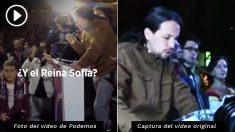 A la izquierda, una imagen del vídeo. A la imagen, el acto real