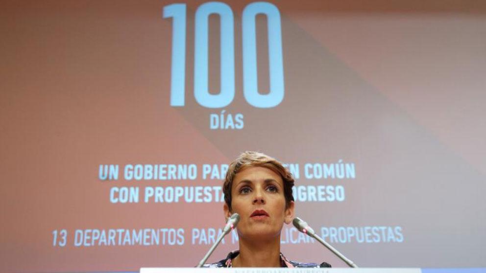 La presidenta de Navarra, María Chivite, durante la rueda de prensa que ha ofrecido este viernes en Pamplona en donde ha presentado las principales propuestas y acciones que va a emprender el Gobierno Foral en sus primeros 100 días de mandato. Foto: EFE
