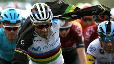 Alejandro Valverde, en un momento de la etapa 19. (EFE)