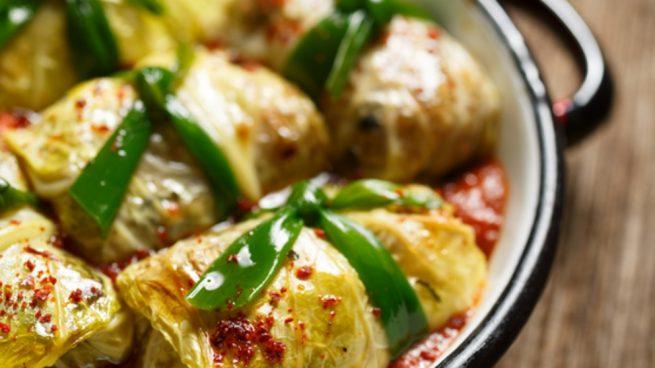 Receta de hojas de acelgas rellenas de risotto