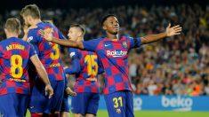 Ansu Fati celebrando un gol contra el Valencia. (AFP)