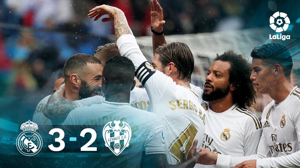 El Real Madrid derrotó 3-2 al Levante en el Bernabéu.