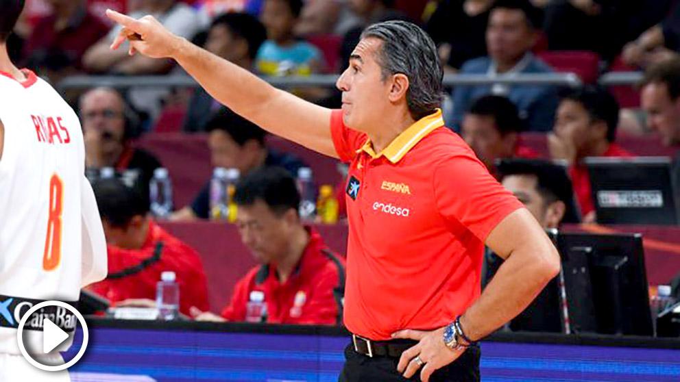 Sergio Scariolo, durante un partido en el Mundial de China.