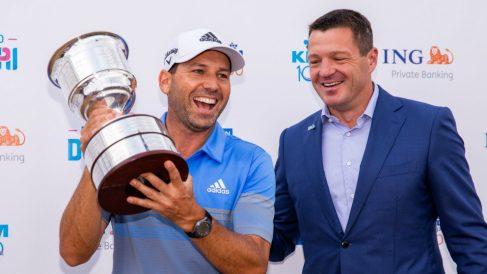 Sergio García, con el título del KLM Open. (AFP)