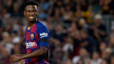 Ansu Fati, durante el partido contra el Valencia. (AFP)