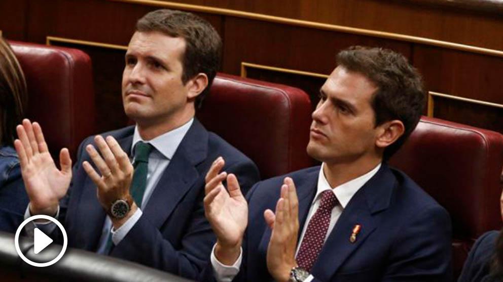 Pablo Casado y Albert Rivera, en el Congreso. (Ep)