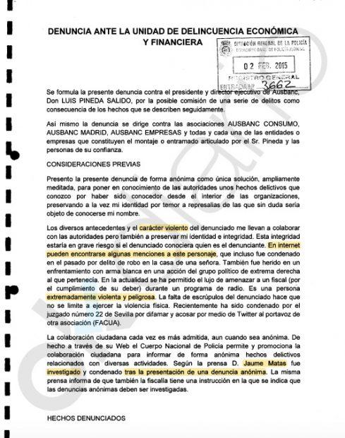 Denuncia presentada en la UDEF contra Luis Pineda.