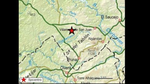Lugar del terremoto.