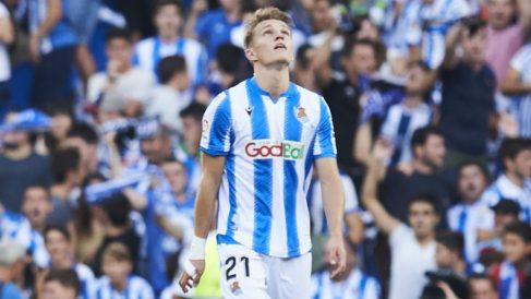 Martin Odegaard, en el partido ante el Atlético en Anoeta. (Getty)