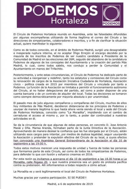 Comunicado del círculo de Podemos