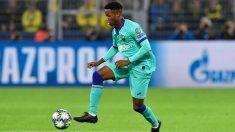 Ansu Fati controla un balón durante el Borussia de Dortmund – Barcelona. (AFP)