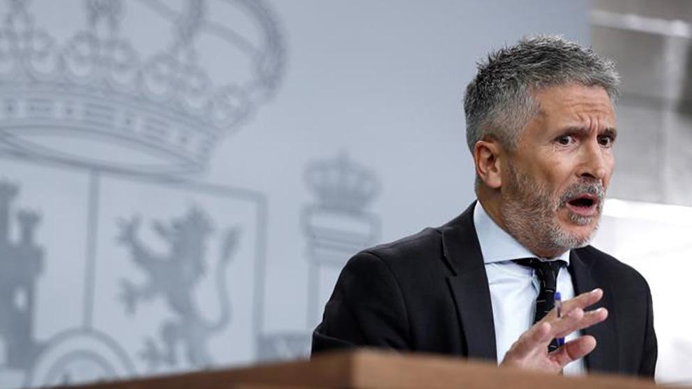 El ministro del Interior en funciones, Fernando Grande Marlaska, durante una rueda de prensa.