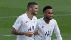 Icardi y Neymar en un entrenamiento. (AFP)