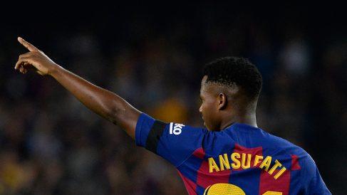 Ansu Fati, en un partido con el Barcelona de esta temporada. (AFP)