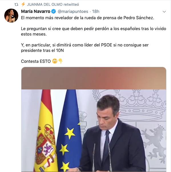 Hasta Podemos difunde los 14 segundos de Sánchez mudo ante una pregunta de OKDIARIO