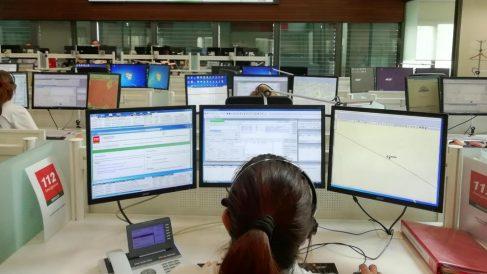 Centro de control del 112 en Andalucía.