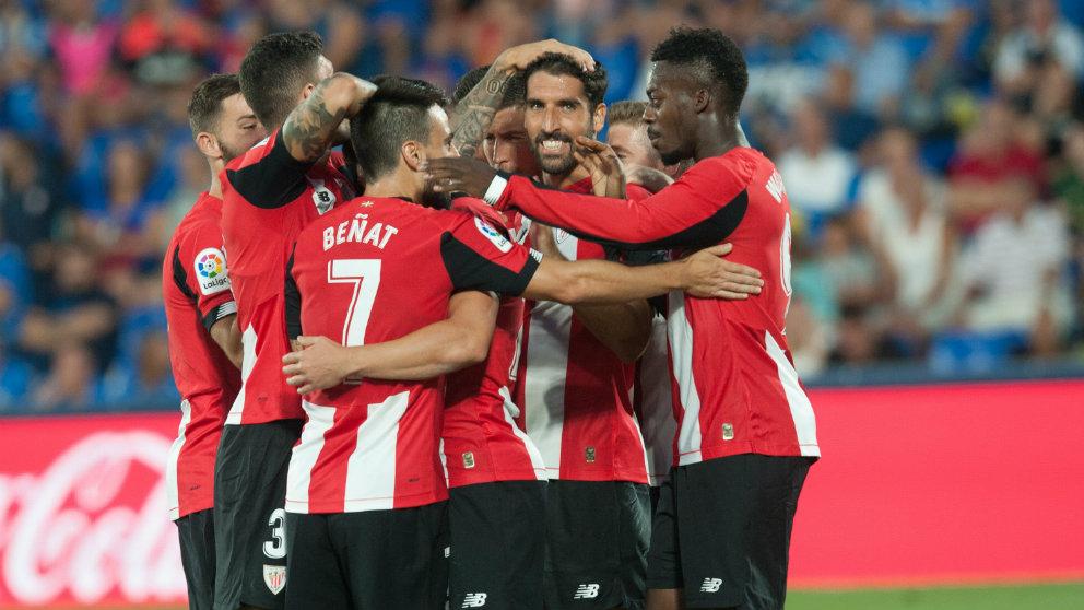 Los jugadores del Athletic celebran un gol (@AthleticClub)