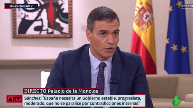 Pedro Sánchez en la entrevista con La Sexta.