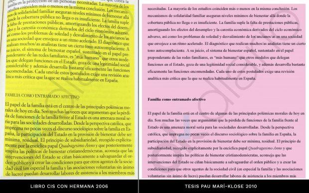 Jaque mate: el 54% de la tesis del socialista Marí-Klose está plagiado de un libro con su hermana