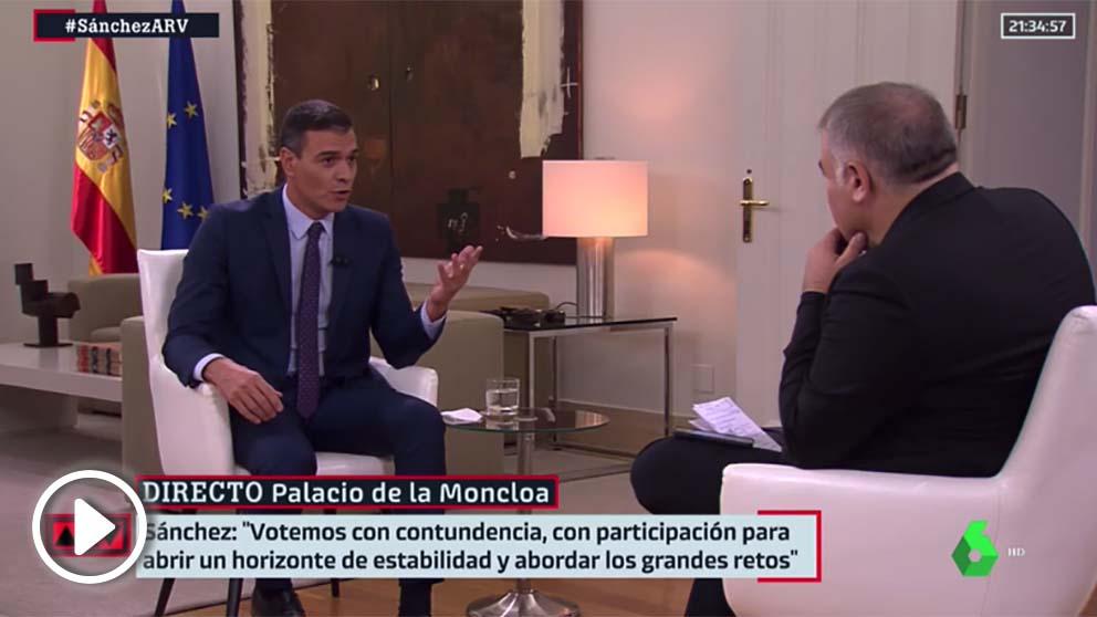 Sánchez, este jueves, en la entrevista en La Sexta.
