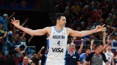 Luis Scola celebra un triple en el Mundial de China. (AFP)