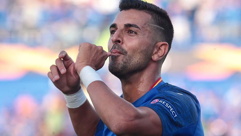 Ángel celebra su gol al Trabzonspor. (Alberto Simón)