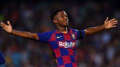 Ansu Fati, tras marcar un gol en el Camp Nou. (Getty)