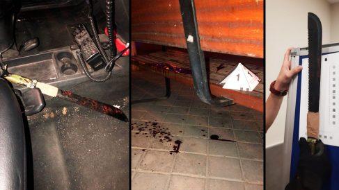 Imágenes del machete y del banco donde fue encontrada la víctima.