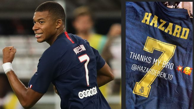 Mbappé presume de la camiseta que le regaló Hazard